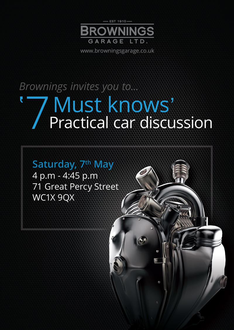 Brownings Garage invites you to '7 must knows practical car discussion'